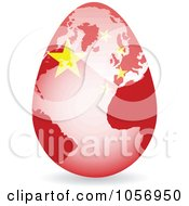 Royalty Free Vector Clip Art Illustration Of A 3d China Flag Egg Globe With A Shadow by Andrei Marincas