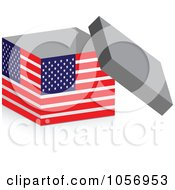 Royalty Free Vector Clip Art Illustration Of A 3d Open American Flag Box With A Shadow by Andrei Marincas