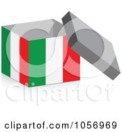 Royalty Free Vector Clip Art Illustration Of A 3d Open Italian Flag Box With A Shadow