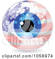 Royalty Free Vector Clip Art Illustration Of A 3d American Eye World Globe