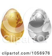 Royalty Free Vector Clip Art Illustration Of A Digital Collage Of 3d Silver And Gold Egg Globes