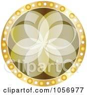 Royalty Free Vector Clip Art Illustration Of A Golden Floral Medallion by Andrei Marincas