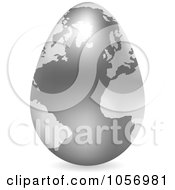 Royalty Free Vector Clip Art Illustration Of A 3d Silver Egg Globe With A Shadow by Andrei Marincas