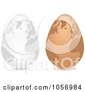 Royalty Free Vector Clip Art Illustration Of A Digital Collage Of 3d White And Brown Egg Globes by Andrei Marincas