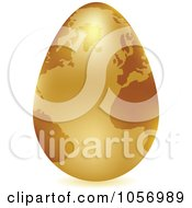 Royalty Free Vector Clip Art Illustration Of A 3d Gold Egg Globe With A Shadow