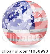 Royalty Free Vector Clip Art Illustration Of A 3d American World Globe by Andrei Marincas