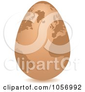 Royalty Free Vector Clip Art Illustration Of A 3d Brown Egg Globe With A Shadow by Andrei Marincas