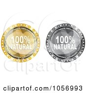 Royalty Free Vector Clip Art Illustration Of A Digital Collage Of Grayscale And Gold Natural Guarantee Circles by Andrei Marincas