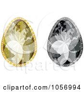 Royalty Free Vector Clip Art Illustration Of A Digital Collage Of Grayscale And Golden World Map Easter Eggs by Andrei Marincas