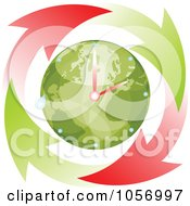 Royalty Free Vector Clip Art Illustration Of A Red And Green Arrows Circling An Eco Globe World Clock by Andrei Marincas