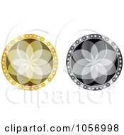 Royalty-Free Vector Clip Art Illustration of a Digital Collage Of Grayscale And Golden Floral Medallion by Andrei Marincas #COLLC1056998-0167