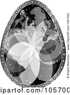 Royalty Free Vector Clip Art Illustration Of A Grayscale World Map Easter Egg by Andrei Marincas