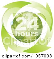 Royalty Free Vector Clip Art Illustration Of A Green 24 Hours Globe With A Droplet And Arrows