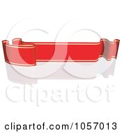 Royalty Free Vector Clip Art Illustration Of A Ribbon Banner In Red And Gold With A Reflection 9
