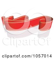 Royalty Free Vector Clip Art Illustration Of A Ribbon Banner In Red And Gold With A Reflection 7