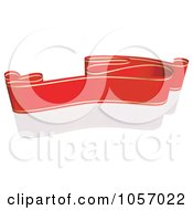 Royalty Free Vector Clip Art Illustration Of A Ribbon Banner In Red And Gold With A Reflection 6