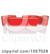 Royalty Free Vector Clip Art Illustration Of A Ribbon Banner In Red And Gold With A Reflection 1