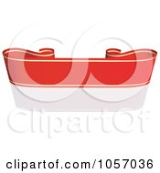 Royalty Free Vector Clip Art Illustration Of A Ribbon Banner In Red And Gold With A Reflection 3