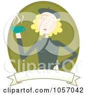 Royalty Free Vector Clip Art Illustration Of A Blond Woman Holding Coffee Over A Green Oval And Blank Banner