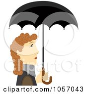 Royalty Free Vector Clip Art Illustration Of A Profiled Woman Under A Black Umbrella
