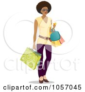 Royalty Free Vector Clip Art Illustration Of A Stylish Black Woman Carrying Shopping Bags by Qiun #COLLC1057045-0141