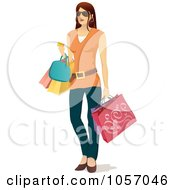 Royalty Free Vector Clip Art Illustration Of A Stylish Brunette Woman Carrying Shopping Bags
