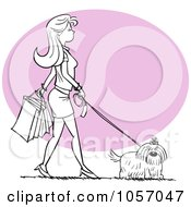 Royalty Free Vector Clip Art Illustration Of A Stylish Black And White Woman Walking Her Dog And Shopping