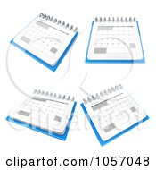Royalty Free CGI Clip Art Illustration Of A Digital Collage Of 3d Calendars At Different Angles