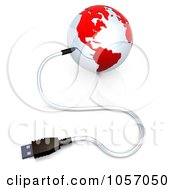 Royalty Free CGI Clip Art Illustration Of A 3d USB Cable Connected To A Red And White Globe