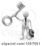 3d White Businessman Holding A Success Key
