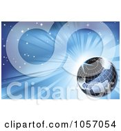 Royalty Free Vector Clip Art Illustration Of A Grid Globe Against A Blue Sunburst Sky
