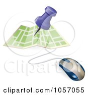 Royalty Free Vector Clip Art Illustration Of A 3d Computer Mouse With A Pin Pointing To A Spot On A Map by AtStockIllustration