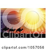 Royalty-Free Vector Clip Art Illustration Of The Three Wise Men Following The Star Of Bethlehem In The Desert