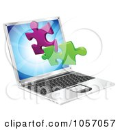 Laptop Computer With 3d Jigsaw Puzzle Pieces