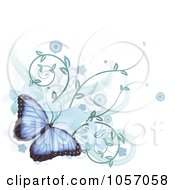 Royalty Free Vector Clip Art Illustration Of A Blue Morpho Peleides Butterfly With Hibiscus Flowers And Vines by AtStockIllustration
