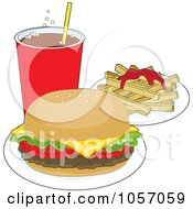 Royalty Free Vector Clip Art Illustration Of A Cheeseburger Served With Soda And Fries With Ketchup by Maria Bell