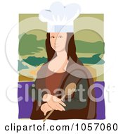 Royalty Free Vector Clip Art Illustration Of A Portrait Of Mona Lisa As A Chef With White Edges by Maria Bell