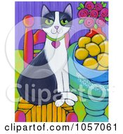 Royalty Free Vector Clip Art Illustration Of A Tuxedo Cat Sitting On A Chair By A Bowl Of Lemons by Maria Bell