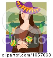 Royalty Free Vector Clip Art Illustration Of A Portrait Of A Mexican Mona Lisa With White Edges by Maria Bell