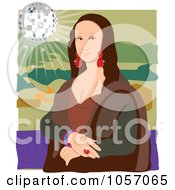 Royalty Free Vector Clip Art Illustration Of A Portrait Of Mona Lisa With A Disco Ball With White Edges by Maria Bell