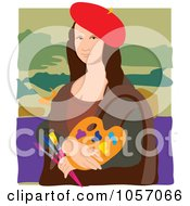 Royalty Free Vector Clip Art Illustration Of A Portrait Of Mona Lisa As An Artist With White Edges by Maria Bell