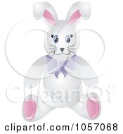 Stuffed Male Bunny Rabbit Wearing A Purple Bow