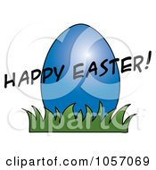 Royalty Free Vector Clip Art Illustration Of A Happy Easter Greeting Over A Blue Egg by Pams Clipart