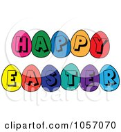 Royalty Free Vector Clip Art Illustration Of A Happy Easter Greeting Of Colorful Eggs by Pams Clipart