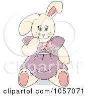 Royalty Free Vector Clip Art Illustration Of A Stuffed Female Bunny Rabbit In A Purple Dress by Pams Clipart