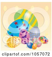 Royalty Free Vector Clip Art Illustration Of Easter Eggs On A Polka Dot Background by Pams Clipart
