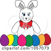 Royalty Free Vector Clip Art Illustration Of A White Rabbit With A Row Of Easter Eggs by Pams Clipart