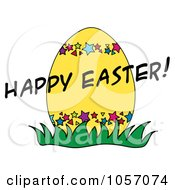 Royalty Free Vector Clip Art Illustration Of A Happy Easter Greeting Over A Yellow Egg by Pams Clipart