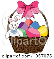 Royalty Free Vector Clip Art Illustration Of A Bunny In A Basket With Easter Eggs