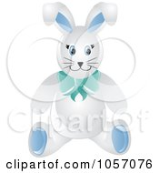 Royalty Free Vector Clip Art Illustration Of A Stuffed Male Bunny Rabbit Wearing A Blue Bow by Pams Clipart
